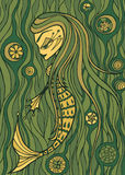 Mermaid mythical creature drawing in shades of green Stock Photography