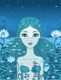 Mermaid at night. Vector illustration the mermaid looks out at night of water Stock Photography