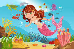 Mermaid in ocean. A vector illustration of a mermaid swimming underwater in the ocean Royalty Free Stock Images