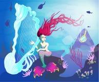 Mermaid on the ocean floor stock illustration