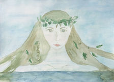 Mermaid water goddess. Original Watercolour painting of a mermaid, water maiden Stock Photo
