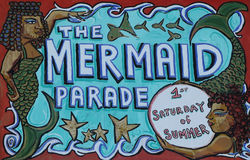 The Mermaid Parade sign at the Coney Island in Brooklyn, NY Royalty Free Stock Photography