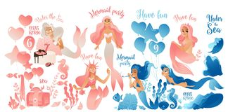 Mermaid party - cute cartoon character set in pink and blue. Pretty ocean creatures swimming with sea fish and balloons and numbers, isolated vector stock illustration