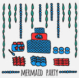 Mermaid party elements, underwater kids party ideas, Stock Photos