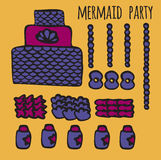 Mermaid party elements, underwater kids party ideas, Royalty Free Stock Images