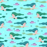 Mermaid pattern with childish drawing colorful trendy vector illustration. Undersea seamless hand drawn funny design for kids and. Baby fashion textile print royalty free illustration