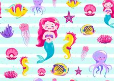 Mermaid pattern seamless vector illustration. Endless background for child print with striped white texture, ocean fish. Seahorse, jellyfish, star, coral vector illustration