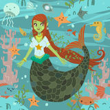 Mermaid pattern. The vector pattern with cute young mermaid and ocean stuff for games presentations, ui tablets, smart phones Royalty Free Stock Photography