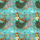 Mermaid pattern. The vector pattern with cute young mermaid and ocean stuff for games presentations, ui tablets, smart phones Stock Photos