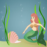 Mermaid and pearl Royalty Free Stock Images