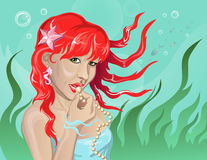 Mermaid with pearls. Vector illustration mermaid with pearls Stock Photography