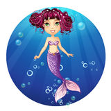Mermaid with pink hair and green eyes Stock Photos