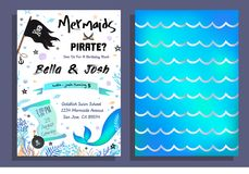 Mermaid and pirate party invitation with holographic background, mermaid tail, pirate flag and doodles. Vector Birthday card for vector illustration