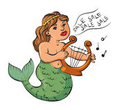 Mermaid playing a harp and sings about the sale Stock Images
