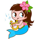 Mermaid playing music with her lyre. vector illustration