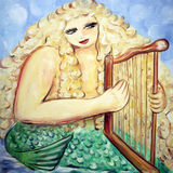 Mermaid plays harp Royalty Free Stock Photography