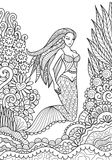 Mermaid. Pretty mermaid swimming in the ocean for adult coloring book page. Vector illustration stock illustration