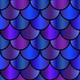Mermaid purple and blue scales seamless pattern Royalty Free Stock Images