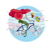 Mermaid riding cruiser bike at the sea side. The mermaid pedals only with her tail but enjoys the ride nevertheless. In the water float an icecream and a vector illustration