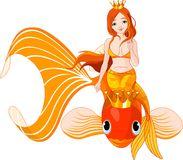 Mermaid riding on a golden fish. Pretty princess mermaid riding on a golden fish Stock Photo