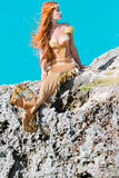 Mermaid on the rock Stock Photos