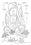 Mermaid s castle at ocean bottom. Coloring book page, black and white. Doodle style, Hand draw. Sea inhabitants and seaweed stock illustration