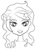 Mermaid's face coloring page Stock Photo