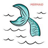 Mermaid`s tail hand drawing vector illustration stock illustration