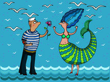 Mermaid and sailor. Image of a couple mermaid and sailor on the waves. On a blue background.. Vector illustration. Authors drawing Stock Photos