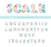 Mermaid scale trendy font. Cute alphabet for mermaid birthday cards, posters. Vector. Illustration stock illustration