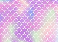 Mermaid scales background with holographic gradient. royalty free illustration