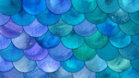 Mermaid Scales Watercolor Fish squame background. Bright summer blue sea pattern with reptilian scales abstract stock illustration