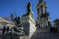 Mermaid sculpture, Lake in Retiro park, Madrid Spain Royalty Free Stock Photo