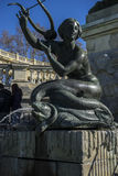Mermaid sculpture, Lake in Retiro park, Madrid Spain Stock Photography
