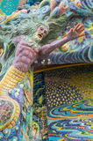 Mermaid sculpture was decorated with glazed tile Stock Images