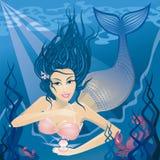 Mermaid in the sea stock illustration