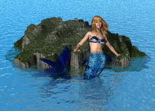 Mermaid at Sea stock illustration