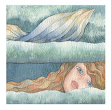 Mermaid of the sea. Illustration of a mermaid in the sea Stock Photography