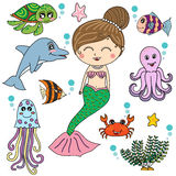 Mermaid with sea animals cartoon  design, illustrator Stock Photography