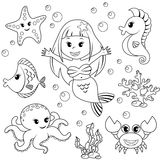 Mermaid and sea animals. Fish, starfish, octopus, seahorse Stock Photos