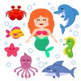 Mermaid and sea animals. Fish, starfish, octopus, seahorse, shark, dolphin, crab stock illustration