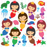 Mermaid and sea creatures clip art set Stock Images