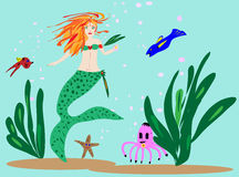 Mermaid and Sea Friends Illustration. This is an illustration of a mermaid swimming with her sea friends Vector Illustration