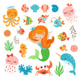 Mermaid and sea friends Stock Photo