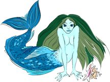 Mermaid. Sea-girl with the tail of fish and long flowing hair Royalty Free Stock Image