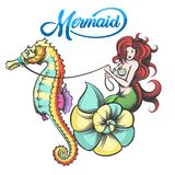 Mermaid with Sea Horse. Red hair Mermaid in the shell controls the sea horse. Vector Illustration vector illustration