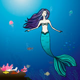 Mermaid and sea illustration Royalty Free Stock Images