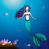 Mermaid and sea illustration. Mermaid and sea  cartoon illustration Royalty Free Stock Images