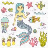 Mermaid sea symbols doodles vector set Stock Image