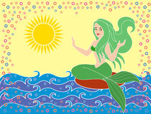 Mermaid on the sea waves. Mermaid as a mythical girl on the sea waves in the warm season, hand drawing vector illustration Royalty Free Stock Image